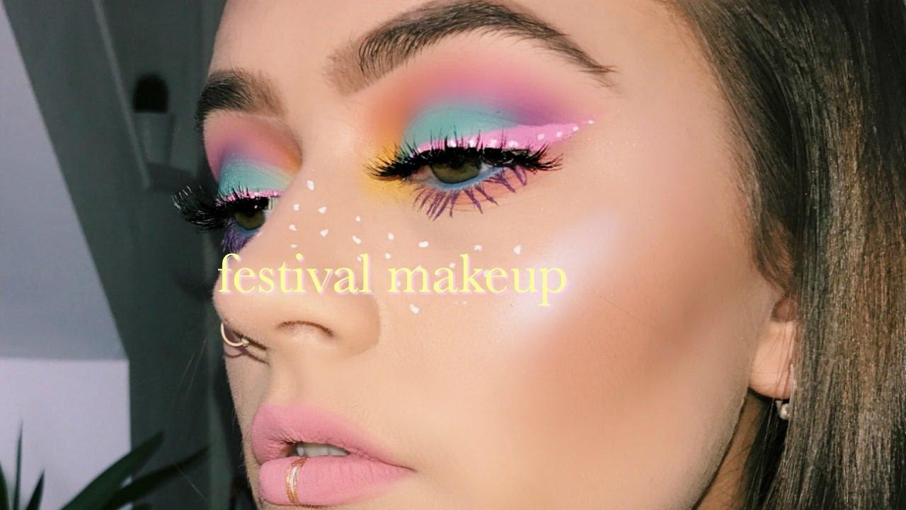 Easter egg themed festival makeup tutorial