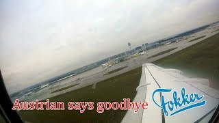 Austrian Airlines Fokker 100 onboard takeoff at Vienna Airport   FAREWELL FLIGHT