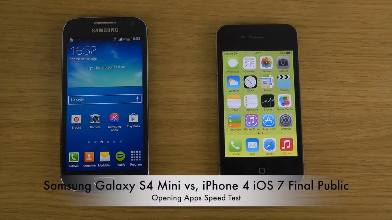 samsung galaxy vs iphone samsung galaxy s4 mini vs iphone 4 ios 7 2922