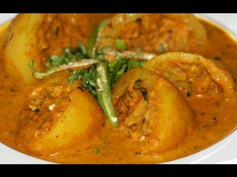 Stuffed dum aloo (Stuffed baby potatoes cooked in red curry) by ...