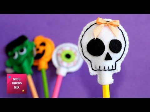 4 Halloween Felt Pencil Toppers / Halloween Crafts - Felt Crafts.