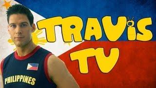 Travis tapes a Filipino TV show with  Zoren Legaspi and Carmina Villaroel.