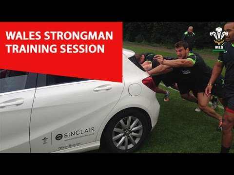 Wales Rugby team try their hand at strongman training | WRU TV