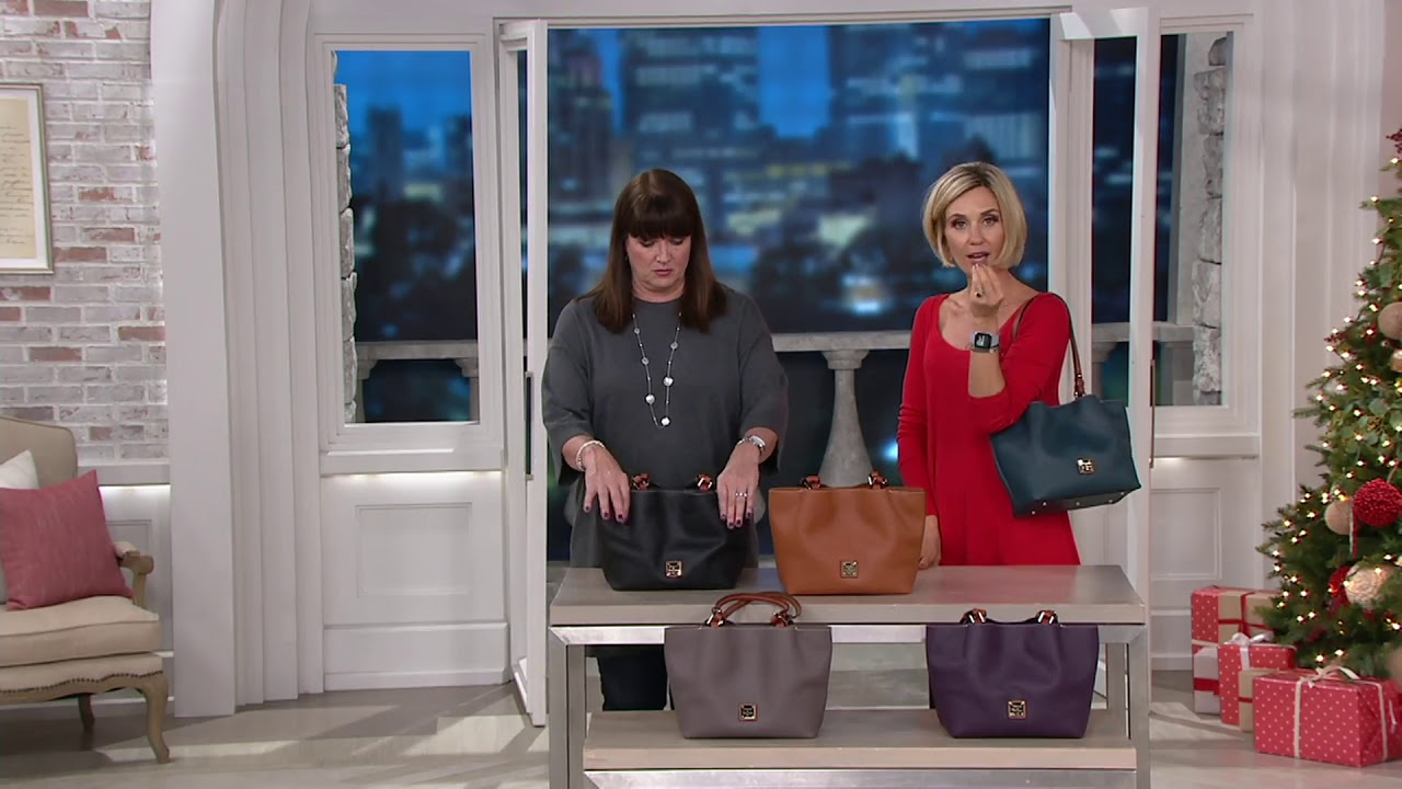 a0cc9fbdf1b9 Dooney   Bourke Pebble Leather Small Flynn Tote on QVC - YouTube