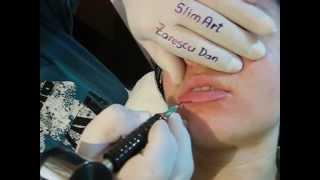 Machiaj semipermanent buze contur Clinica de infrumusetare SlimArt make up artist Zarescu Dan Buc