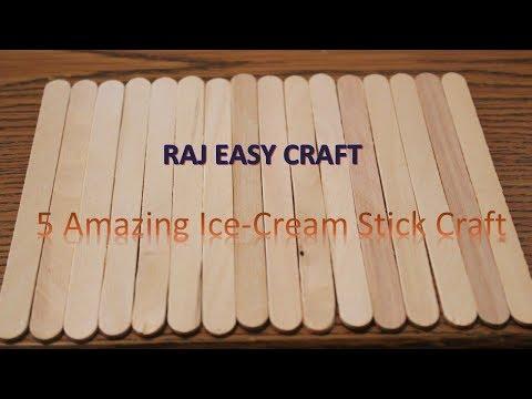 5 Amazing  Ice Cream Stick Craft || 5 amazing ideas of Popsicle Sticks || DIY