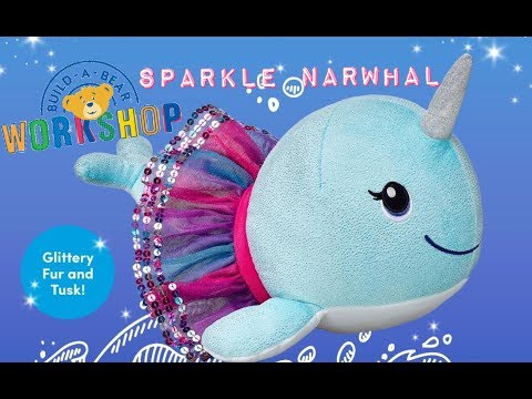 Build-A-Bear Sparkle Narwhal with Colorful Tutu