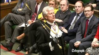 Dennis Skinner heckles Black Rod before Queen