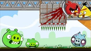 CRUSH BAD PIGGIE THIEF! ANGRY BIRDS TRAP IT TO DEATH