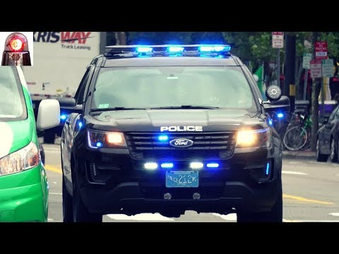 Cambridge Police Car Responding Lights and Siren: Ford Interceptor Utility