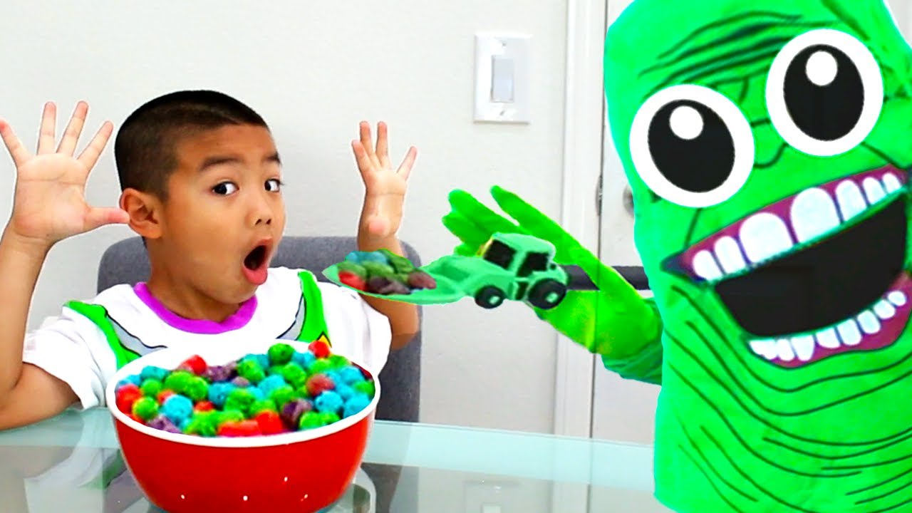 Eric Pretend Play Story about Green Slime Monster | Funny Kids Sci-Fi Video