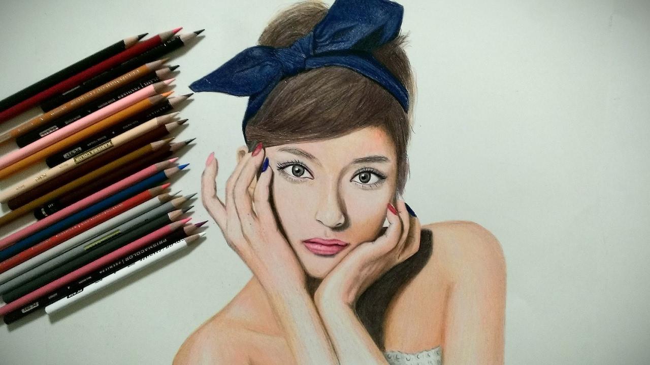 ローラ描いてみた色鉛筆画似顔絵 Youtube