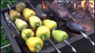 Готовим на костре: Запеченные перцы + Закуска из баклажанов