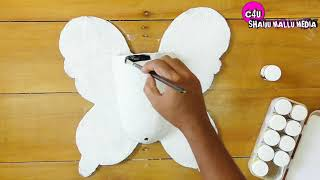 How to Make Beautiful Butterfly wall Hanging With Flower Pot