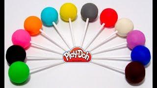 Вчимо кольори англійською мовою з Play-Doh чупа чупсами і формочками.