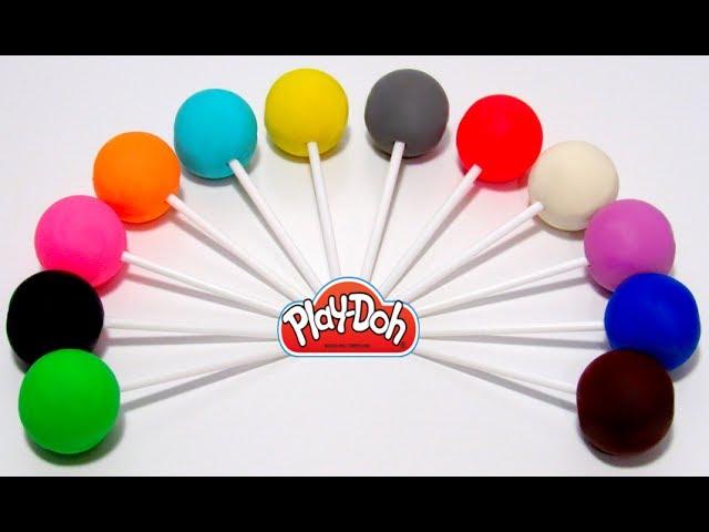 Учим цвета на английском языке с Play-Doh чупа чупсами и формочками.