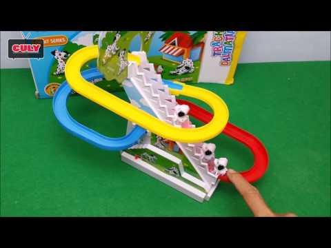 Đồ chơi chú chó đốm chơi cầu tuột leo cầu thang tự động - mini dog play slider toy for kid