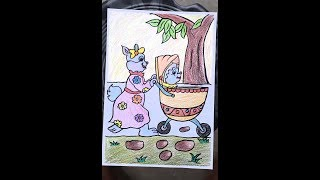 A cute rabbit with her baby coloring and drawing for Kids, toddler