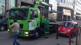 Разгон машин Москва-Сити, неудачная эвакуация Daewoo Matiz
