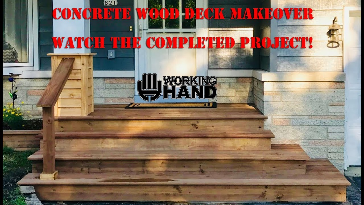Concrete Step Make Over With Wood Decking Youtube   Concrete And Wood Stairs   Concrete Wall   Separated   Concrete Building Interior   Glass Balustrade   White Riser Wood