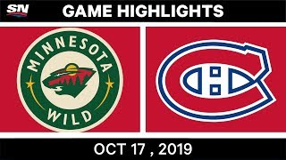 NHL Highlights | Wild vs Canadiens - Oct 17 2019