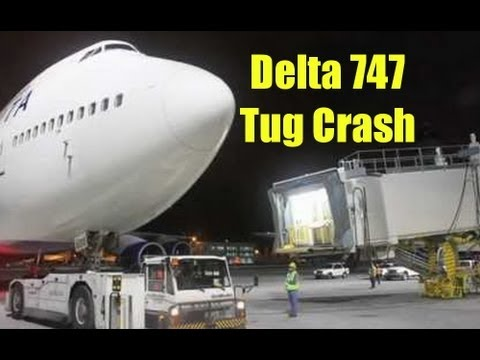 Delta Airlines Boeing 747 Crashes Into Aircraft Tug - JFK Airport Security Camera