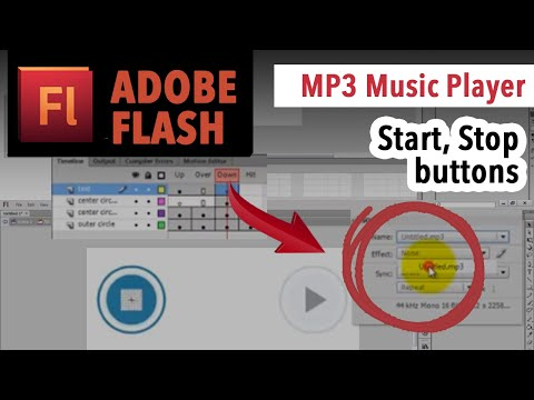 Play and Stop buttons, MP3 music player in Adobe Flash Action Script 3 TUTORIAL