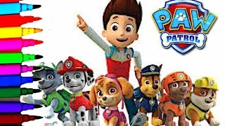Disney Paw Patrol Coloring Book Pages Chase Ryder Marshall Rubble Skye Zuma Rocky Kids Balloons Toys