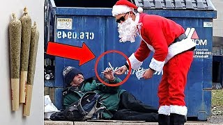 Santa Claus Giving Out Joints To Strangers!