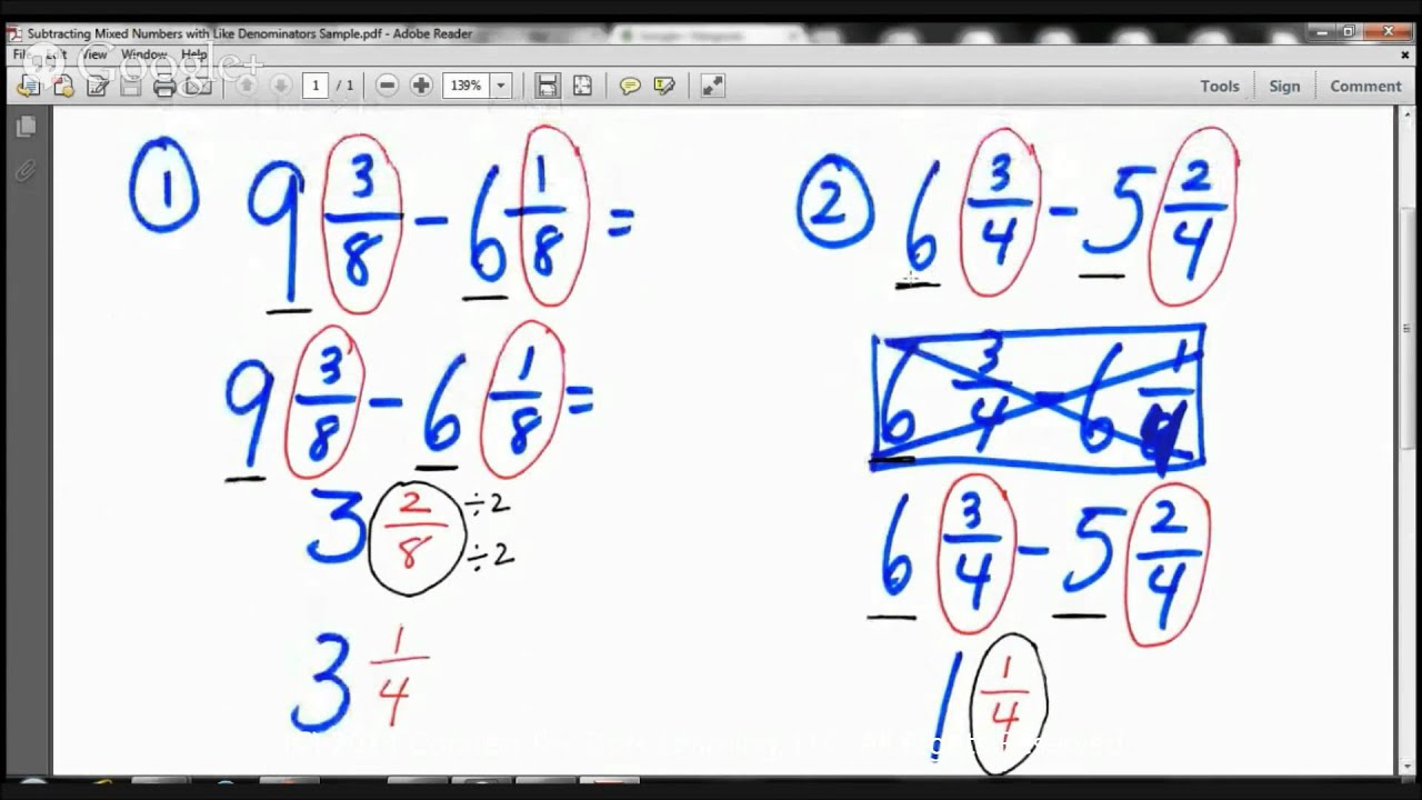 4th Grade Subtracting Mixed Numbers with Like Denominators Lesson-Math  Tutors in Fullerton - YouTube [ 720 x 1280 Pixel ]
