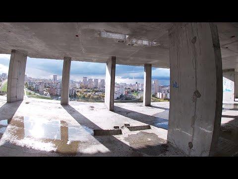 Заброшенная недостроенная высотка Руф по крыше