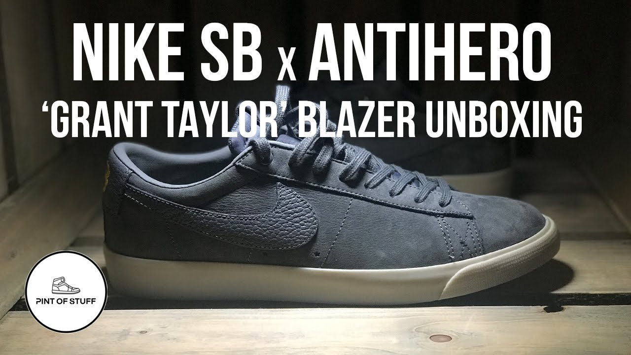 finest selection a40dc 4a0d5 Nike SB x AntiHero Zoom Blazer Low Pro 'Grant Taylor' QS Sneaker Unboxing  with Mr B
