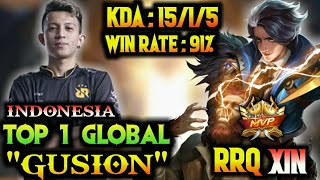 Download Gusion 91% Win Rate!!! Indonesia Top Global Gusion - By RRQ Xin | Mobile Legends