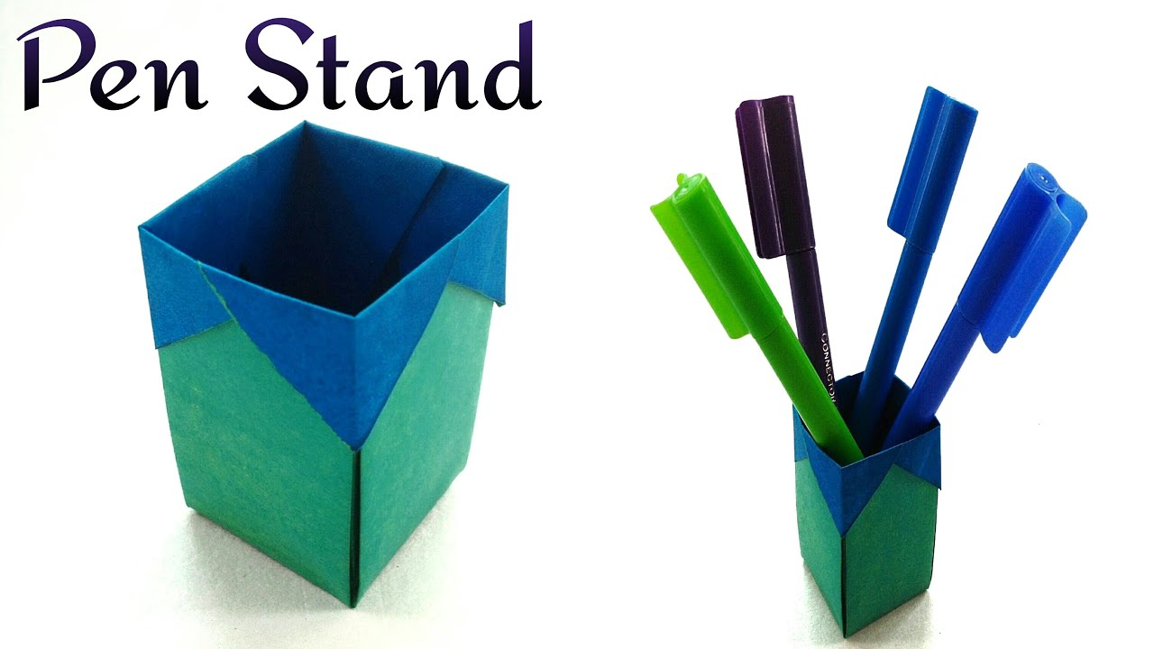 Paper trash bin pen holder diy handmade tutorial for How to make useful things from paper