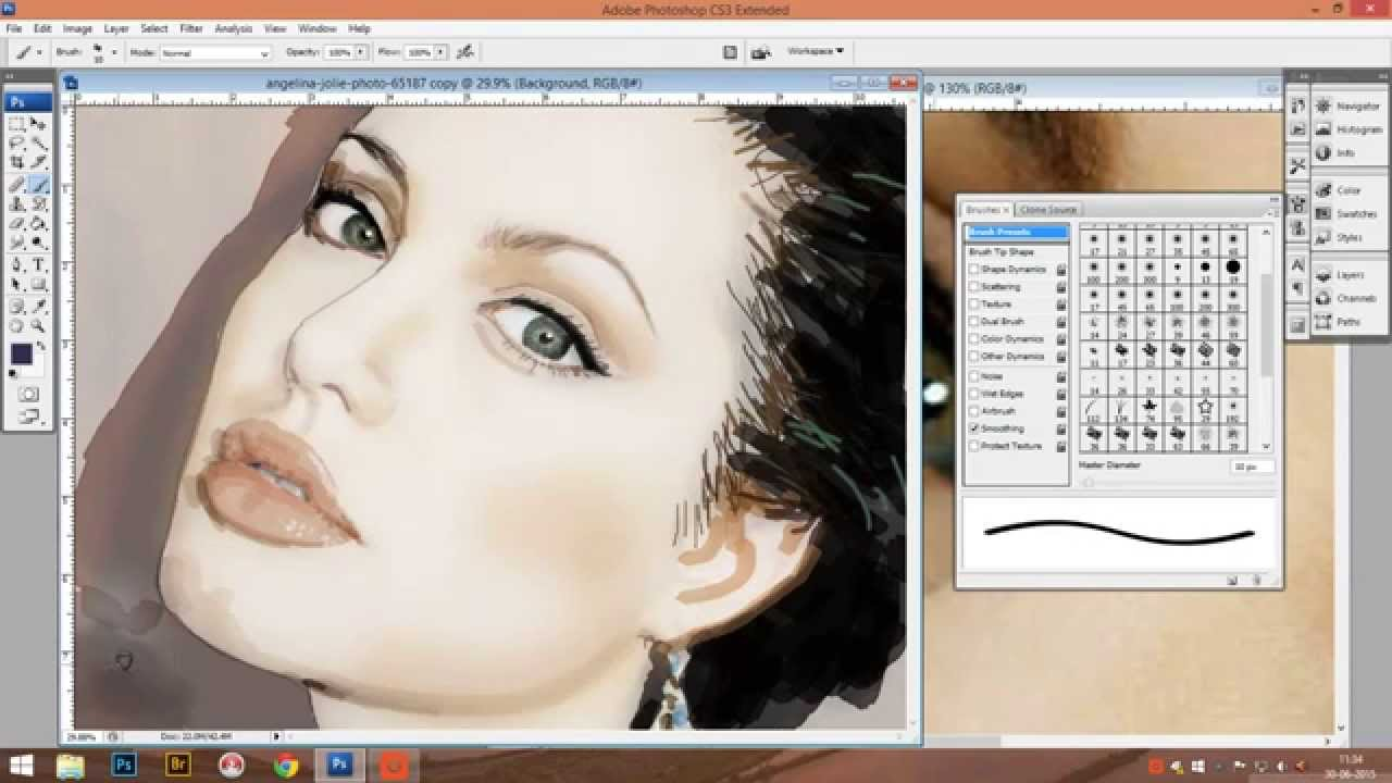 Drawing Angelina Jolie On Photoshop  Tutorial (part 3)