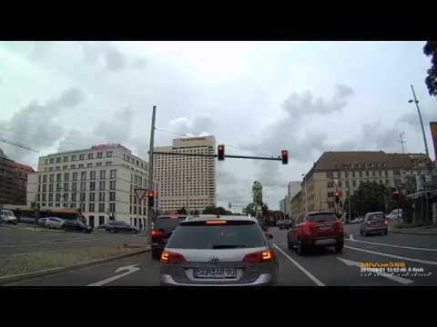 D: Leipzig. Fahrt von der Innenstadt in Richtung Zwenkau. September 2017