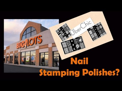 Big Lots Nail Stamping Polishes Swatching Demo,  featuring UberChic Beauty plates!