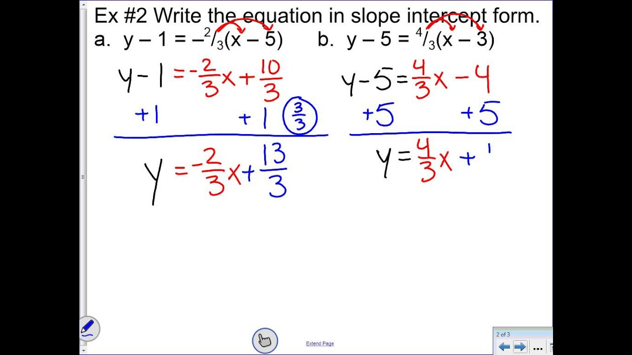 Unit 5 lesson 2 writing equations in point slope form youtube unit 5 lesson 2 writing equations in point slope form falaconquin
