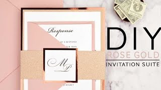 DIY Rose Gold Wedding Invitations
