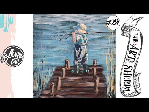 Little boy fishing Easy loose step by step Acrylic April day #29