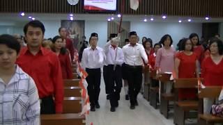 Kebaktian HUT RI Ke72 GKI Guntur 2017  Upacara amp; Lagu Perjuangan