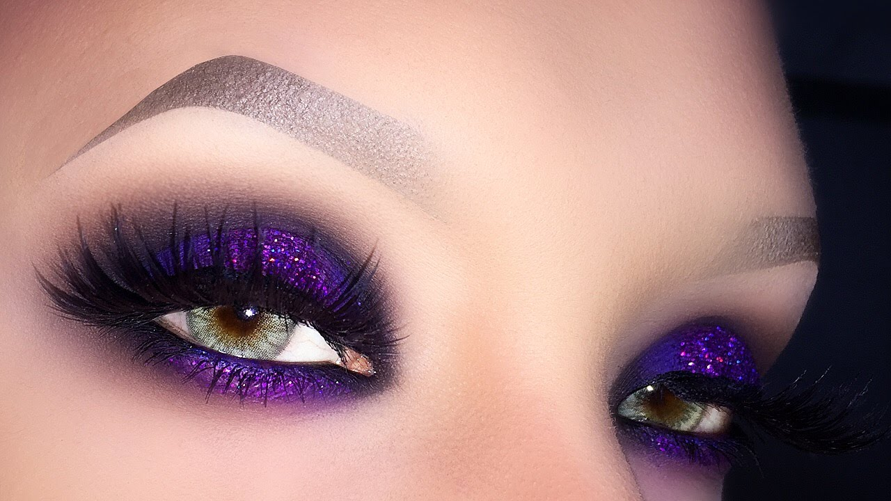sexy purple smokey for green eyes - glitter halo makeup tutorial ft. lunatick cosmetics