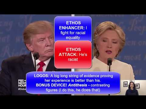 ULTIMATE DEBATE RHETORIC! Trump & Clinton sparring, logos, ethos, & pathos