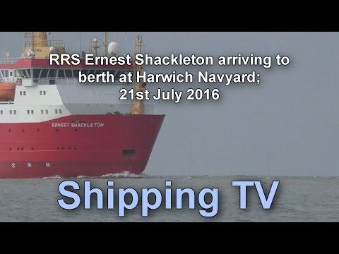 RRS Ernest Shackleton arriving Harwich. 21 July 2016
