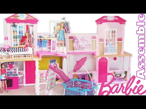 Thumbnail: Barbie 31 inch Dollhouse Party Pool House Mansion Assemble Unboxing