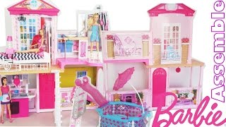 Barbie 31 inch Dollhouse Party Pool House Mansion Assemble Unboxing
