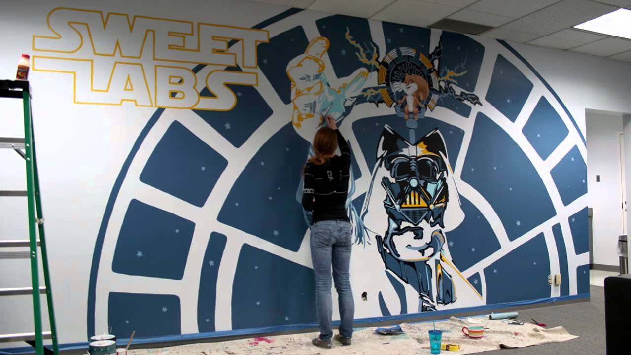 Star wars mural timelapse youtube for Mural star wars