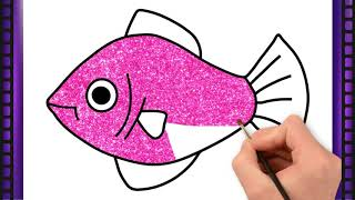 Fish Drawing|How to Draw a Fish|Draw Fish and Coloring Fish|Fish Drawing|Glitter Coloring Fish Draw