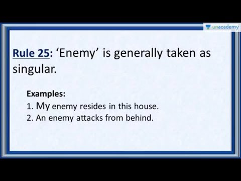 Subject Verb Agreement Rule 25 - Correct Usage of the word 'Enemy'