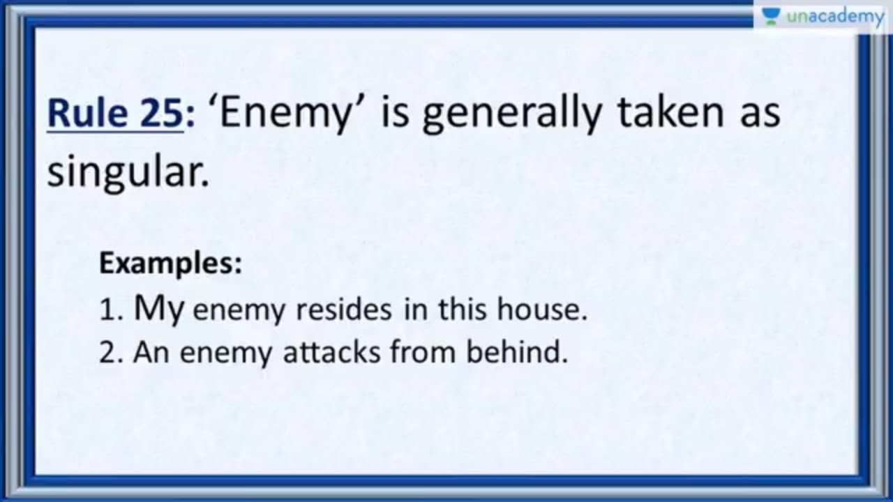 Subject Verb Agreement Rule 25 Correct Usage Of The Word Enemy